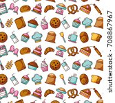 collection food and bakery... | Shutterstock .eps vector #708867967