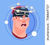 man dizzy male emoji wearing 3d ... | Shutterstock .eps vector #708869737