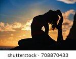 woman black silhouette on... | Shutterstock . vector #708870433