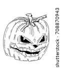 vector   halloween pumpkin with ... | Shutterstock .eps vector #708870943