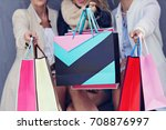 happy group of friends shopping ... | Shutterstock . vector #708876997