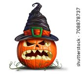 pumpkin wearing a witch hat as... | Shutterstock . vector #708878737