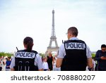 unknown french police officers... | Shutterstock . vector #708880207