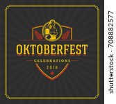 oktoberfest greeting card or... | Shutterstock .eps vector #708882577