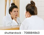 tired woman with eyes... | Shutterstock . vector #708884863