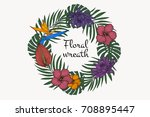floral tropical wreath. vintage ... | Shutterstock .eps vector #708895447