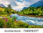 dramatic summer view of loelva... | Shutterstock . vector #708898297