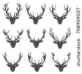 set deer heads  collection stag ... | Shutterstock .eps vector #708909037