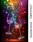 pair of wineglasses and sparks... | Shutterstock .eps vector #708919327