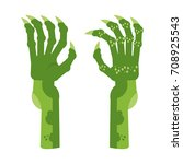 scary green clawed hands ghouls ... | Shutterstock . vector #708925543