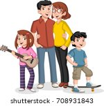 colorful happy people. cartoon... | Shutterstock .eps vector #708931843