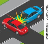 isometric traffic accident... | Shutterstock .eps vector #708932983