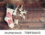 christmas rustic decorations... | Shutterstock . vector #708936643
