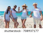 group of young boys enjoying on ... | Shutterstock . vector #708937177