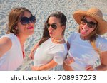 group of girls laughing excited ... | Shutterstock . vector #708937273