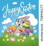 easter bunny rabbit on the...   Shutterstock .eps vector #708940177