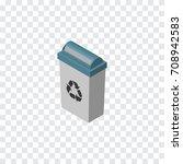 isolated trash bin isometric.... | Shutterstock .eps vector #708942583