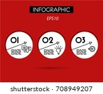 red linear infographic arcs... | Shutterstock .eps vector #708949207