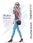 beautiful fashion model with... | Shutterstock .eps vector #708949777