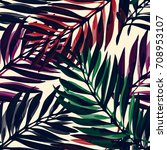 tropical palm leaves pattern.... | Shutterstock .eps vector #708953107