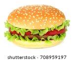 big hamburger on white... | Shutterstock . vector #708959197