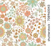 vector flower pattern. colorful ... | Shutterstock .eps vector #708960043