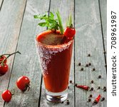 bloody mary cocktail made of...   Shutterstock . vector #708961987