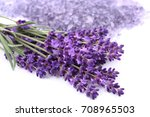 bouquet of lavender  on a white ... | Shutterstock . vector #708965503