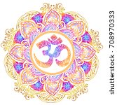 isolated image of a mandala and ... | Shutterstock .eps vector #708970333