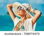 pretty woman in hat and... | Shutterstock . vector #708974473