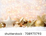 christmas and new year gold... | Shutterstock . vector #708975793
