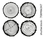 tree rings. set of cross... | Shutterstock . vector #708986347