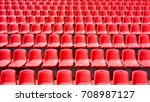 many rows of red plastic seats...   Shutterstock . vector #708987127