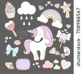 sweet unicorn element with cute ... | Shutterstock .eps vector #708988567