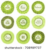 round vector organic  bio or... | Shutterstock .eps vector #708989737