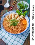 thai style noodle  noodle tom... | Shutterstock . vector #708991123