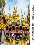 ancient pagodas in phra that... | Shutterstock . vector #708992323