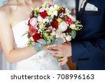 bright wedding bouquet in the... | Shutterstock . vector #708996163