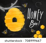 poster illustrated bee hive ... | Shutterstock . vector #708999667