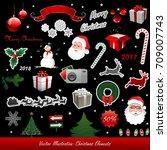 christmas vector set elements... | Shutterstock .eps vector #709007743
