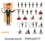 set of businessman character... | Shutterstock .eps vector #709016977