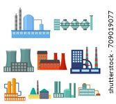 factory set icons in cartoon... | Shutterstock .eps vector #709019077