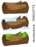 log with snow and moss... | Shutterstock .eps vector #709019773