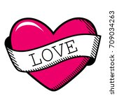 engraving heart vector | Shutterstock .eps vector #709034263