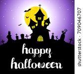 halloween vector card or... | Shutterstock .eps vector #709046707