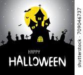 halloween vector card or... | Shutterstock .eps vector #709046737