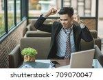 angry senior businessman... | Shutterstock . vector #709070047