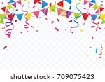 colorful party flags with... | Shutterstock .eps vector #709075423