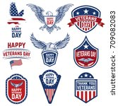 set of veterans day emblems... | Shutterstock .eps vector #709082083