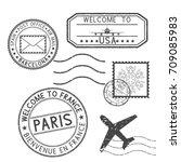 Set Of Black Stamps. Postmarks...
